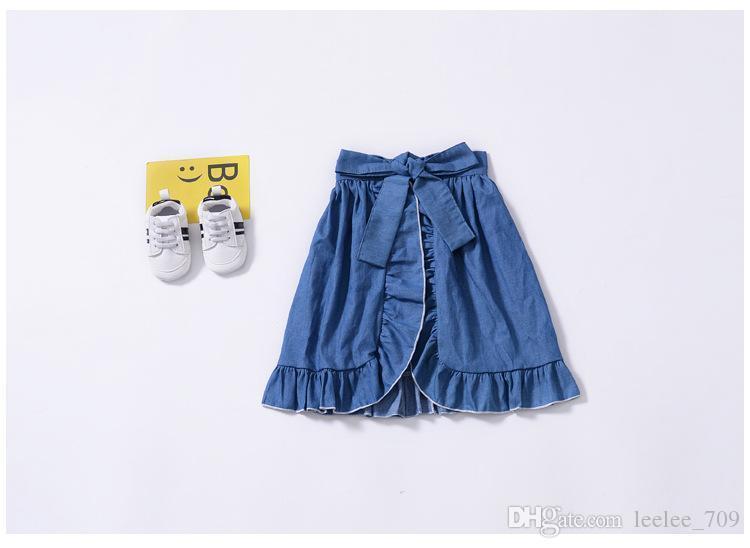 Nouveau Bébé Filles Trois Pièces Costumes Sling Top Denim Jupe Pp Shorts Enfants Tenues Vêtements Set Halloween Girls Boutique Automne Vêtements
