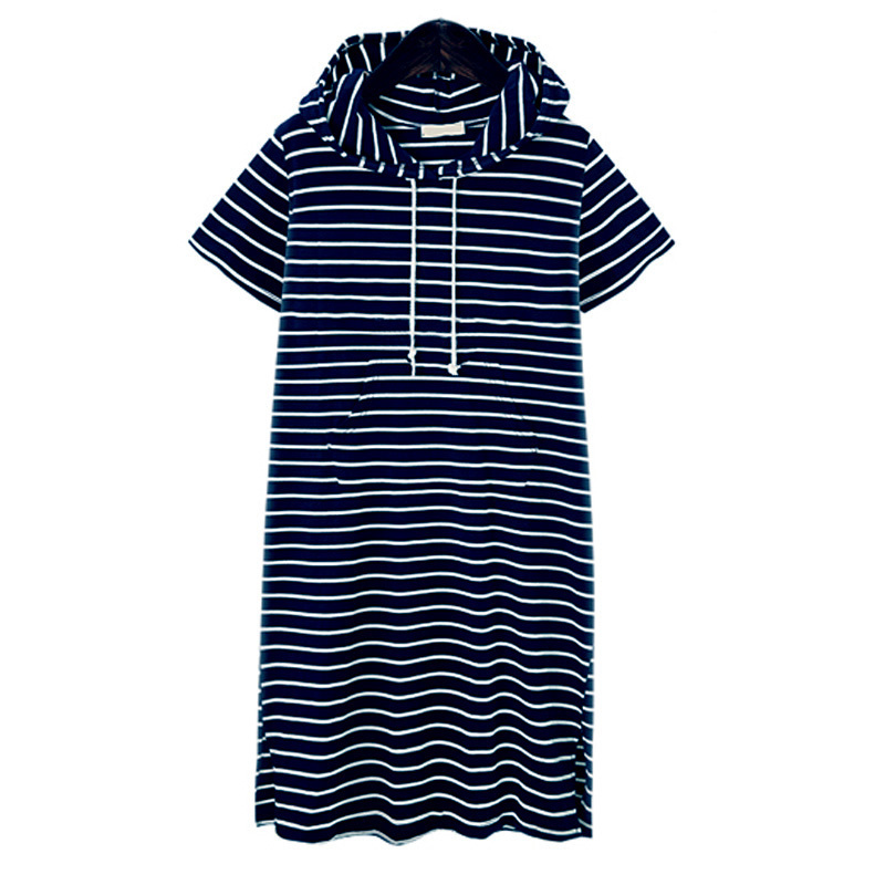 Summer Striped Dress Plus Size Dresses For Women 4xl 5xl Womens Big Size Casual Work Office Wear Loose Short Sleeve Hoodies Y19053001