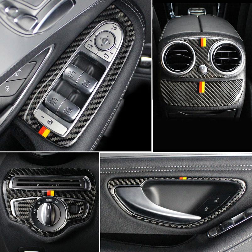 Carbon Fiber Trim B Pillar Panel Cover 6PCS Set for Mercedes W205 C-Class Sedan