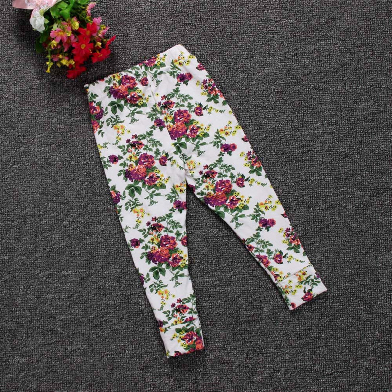 Girls Pants Fashion Toddler Infant Baby Girls Full Pants Flowers Printed Faux Cotton Skinny Pants Suit For 6-24M Baby M8Y09 (16)