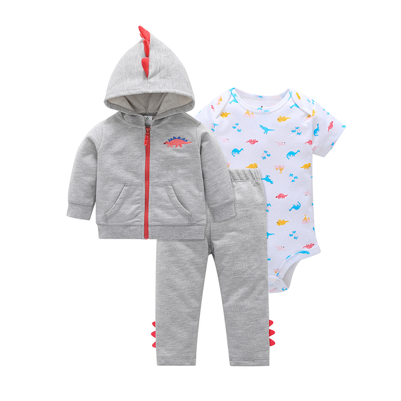 2018 autumn baby boy clothes long sleeve cartoon Unicorn hooeies coat+romper+pants 3PCS outwear clothing set baby girl outfits