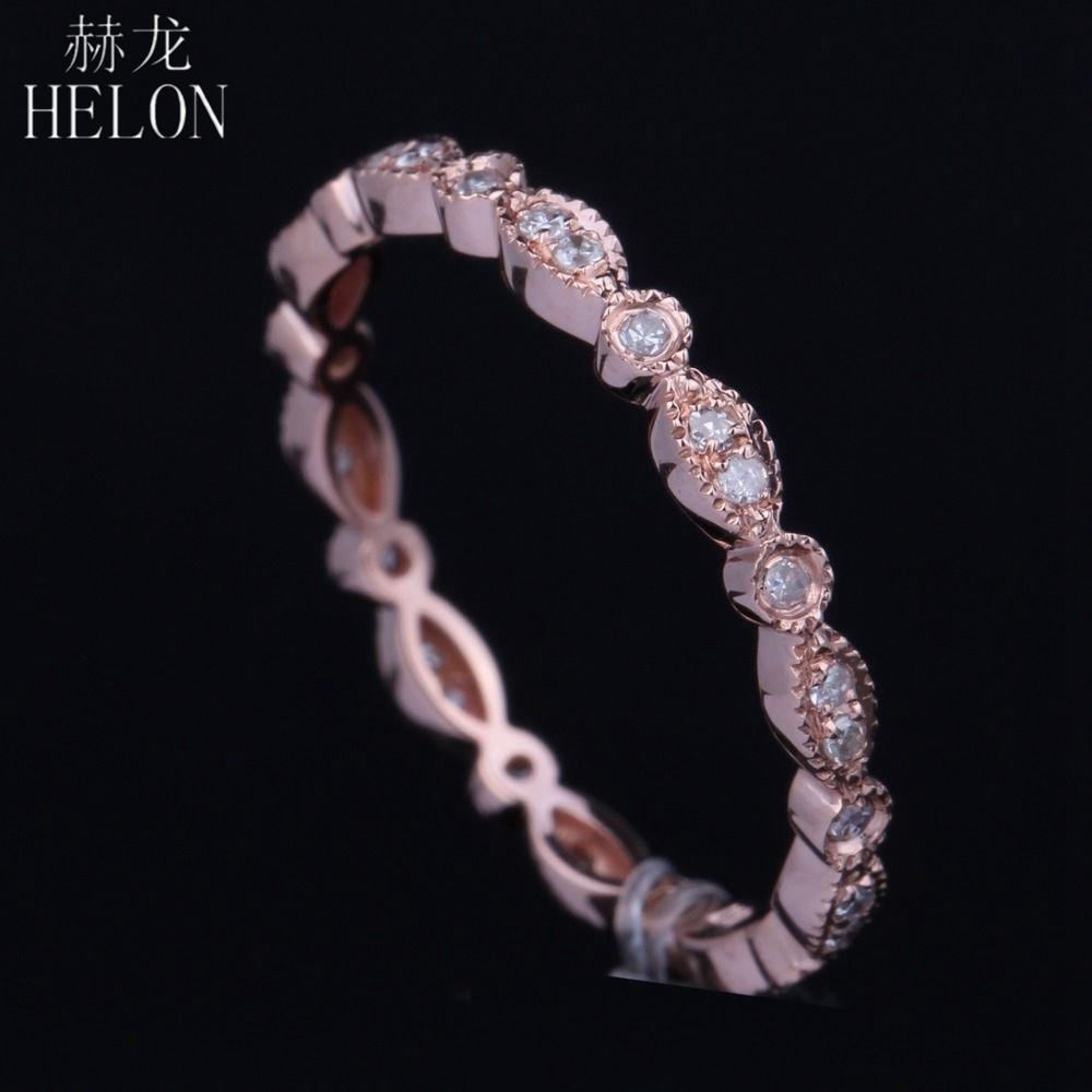 Helon Fine Diamonds Band Sólido 14k Oro rosa Pave Bisel Ajuste Anillo de bodas de diamante natural Art Deco Aniversario Antiguo Banda J 190430