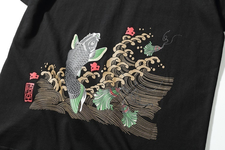 Japanese style Summer  Men Brand Clothing Fashion Carp fish Print T-Shirt 100...