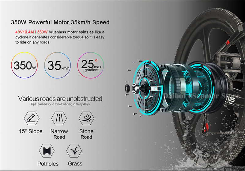 Powerful Electric Bicycle 2 Wheels Electric Bicycles 21 Speed 35KMH 48V 350W Folding Electric Scooter With Removable Battery (33)
