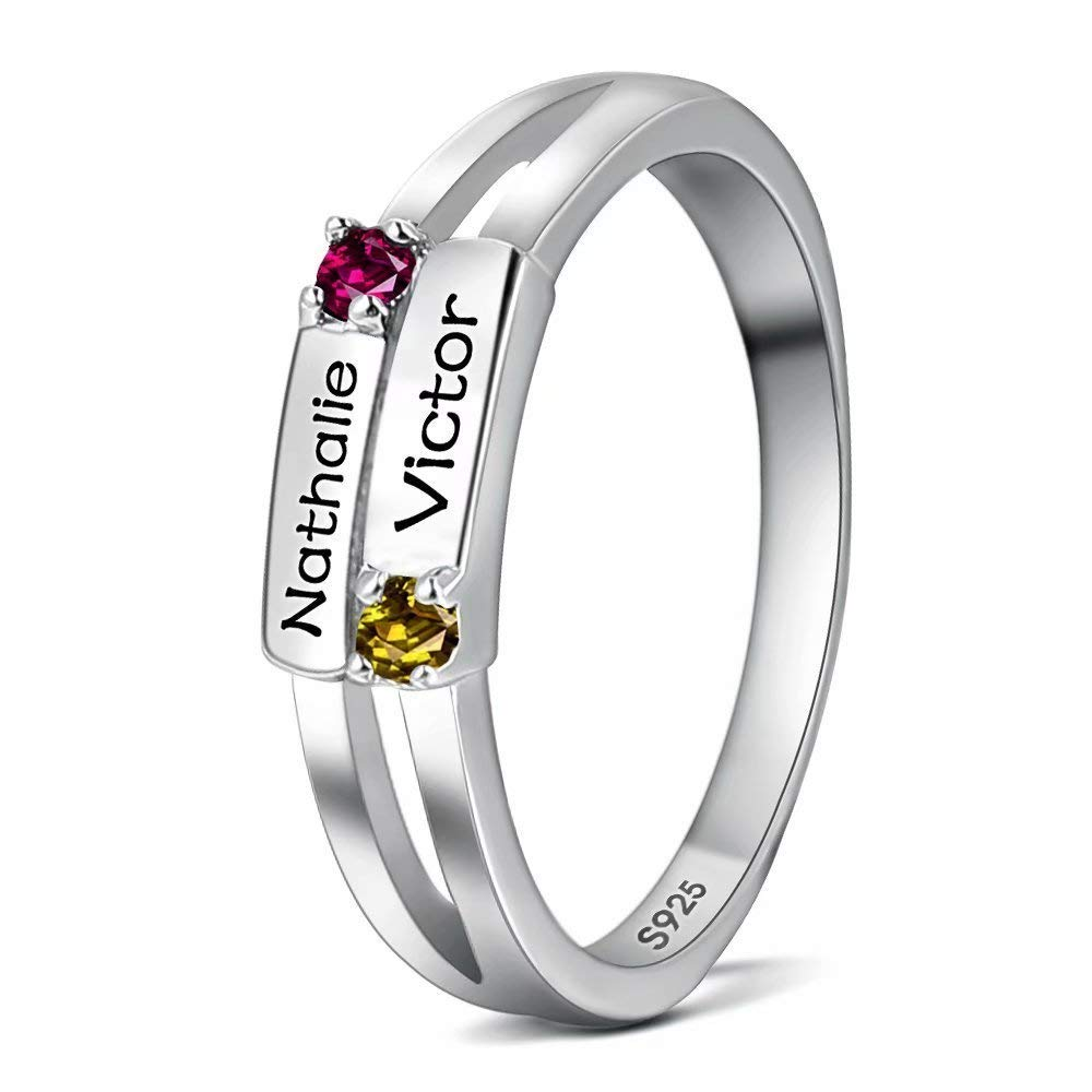 Amxiu Romantic Customized Two Names 925 Sterling Silver Rings with Personalized Birthstone Lovers Mother's Rings Surprise Gift