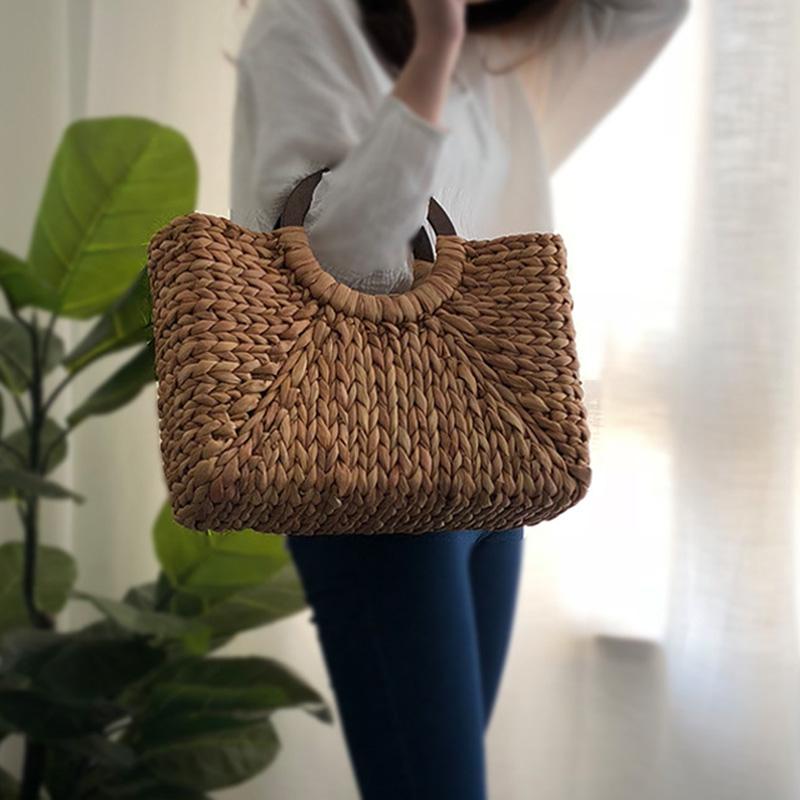 Women Vintage Rattan Handbag Female Bohemian Summer Beach Straw Bags Lady Simple Weave Bag Handmade Casual Large Tote SS3032 (3)