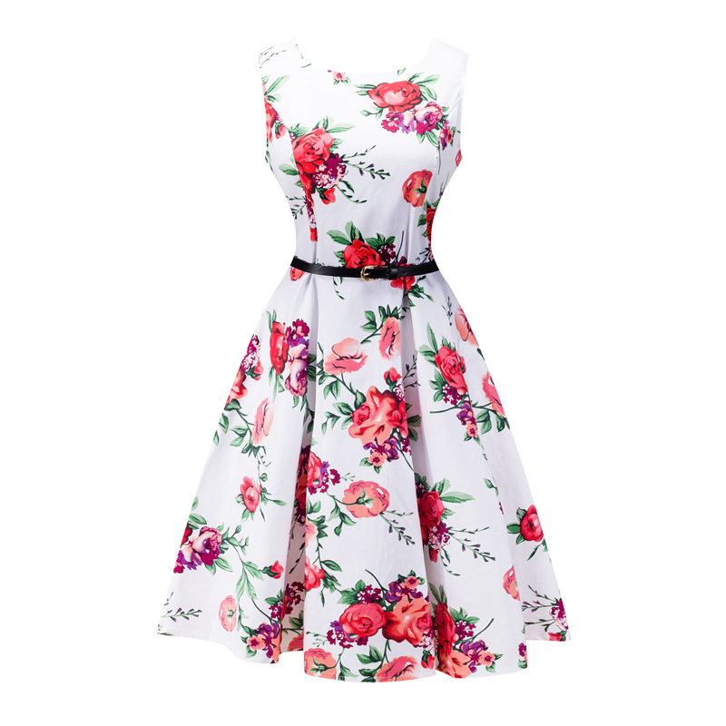 Kostlish 2017 New Summer Dress Women Floral Print Audrey Hepburn 50s 60s A-Line Vintage Dress Sleeveless Party Dresses Plus Size (116)