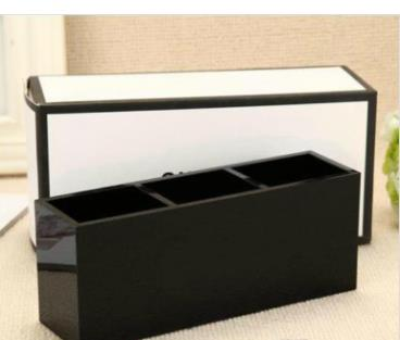 Luxury 3 Grids Cosmetic Holder Make-up Box Acrylic Women Makeup Tools Organizer For Girlfriend Wedding Gift