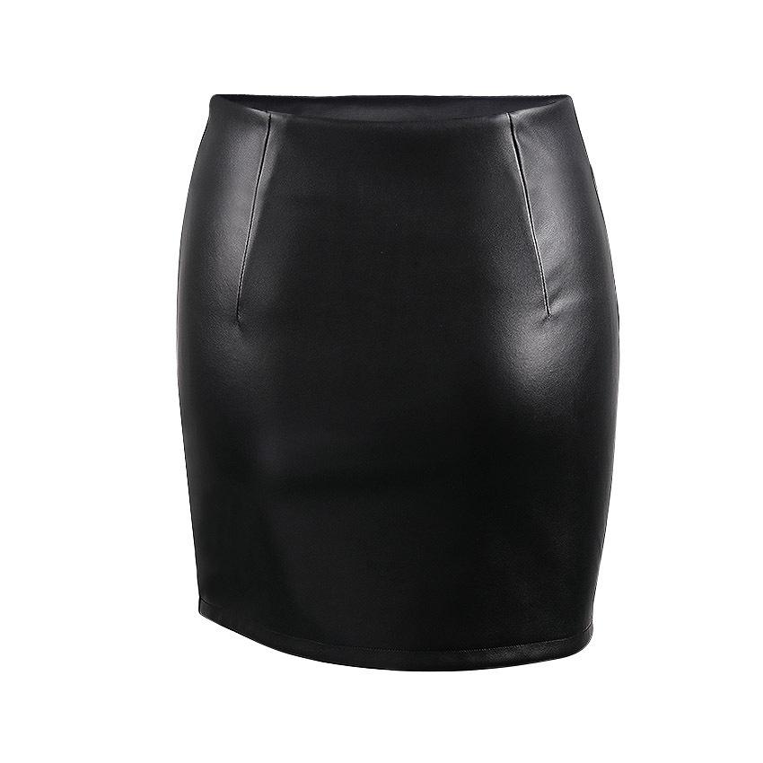 Womens Casual High Waist Beading Pu Mini Skirt Punk Hot Girls Faux Leather Rivet Decor Irregular Hem Black Pencil Short Skirt Y19060301