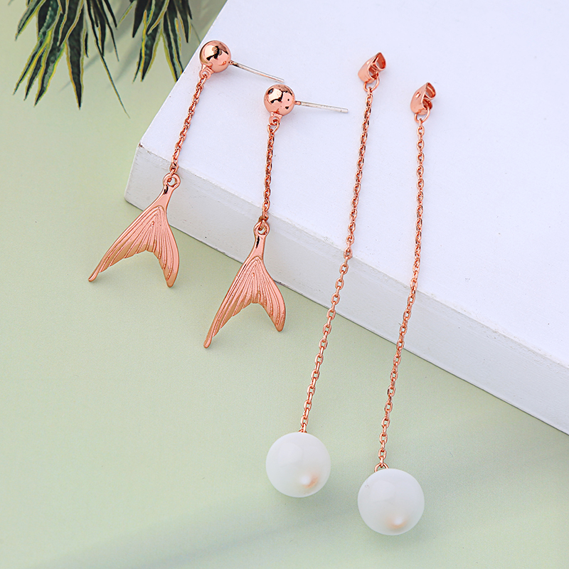 wholesale Beach Ocean Style Rose Gold Color Fishtail Long Chain Opal Ball Dangle Earrings For Women Gifts Fashion Jewelry Wholesale