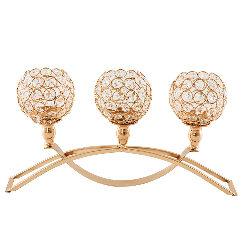3-Arms Gold Silver Color Candle Holders with Crystals Candle Stand Pillar Candlestick for Wedding Party Decor Candelabra