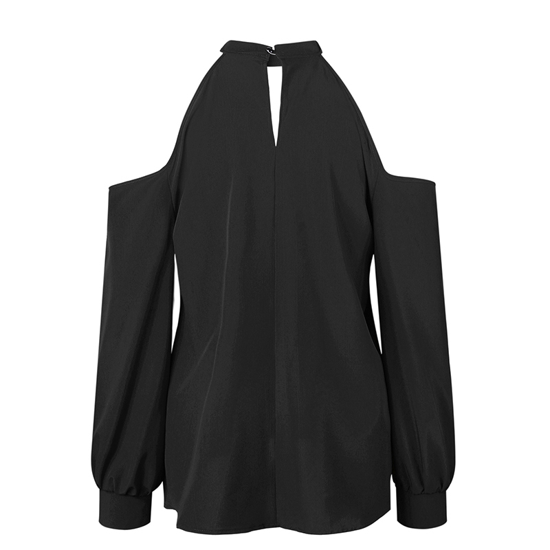 Spring Autumn Sexy Off The Shoulder T Shirt Women Halter Cut Out Clothes Top Tees Long Sleeve Casual Choker Neck Loose Shirt
