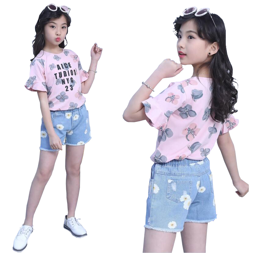 Baby Toddler Girls Summer Shorts Sets for 2-7 Years Old Kid Stripe Pleated T-Shirt Denim Shorts Outfit Clothes