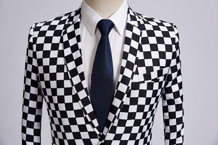 Pyjtrl Moda Suit Erkekler Siyah Beyaz Ekose Baskı 2 adet Seti Son Coat Pant Tasarımlar Düğün Sahne Singer Slim Fit Kostüm T2190615