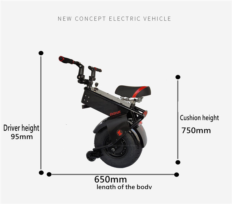 Adult Electric Motorcycle Scooter One Wheel Electric Scooters 18 Inch Fat Tires Portable Electric Unicycle One 1000W 60V 90KM (8)