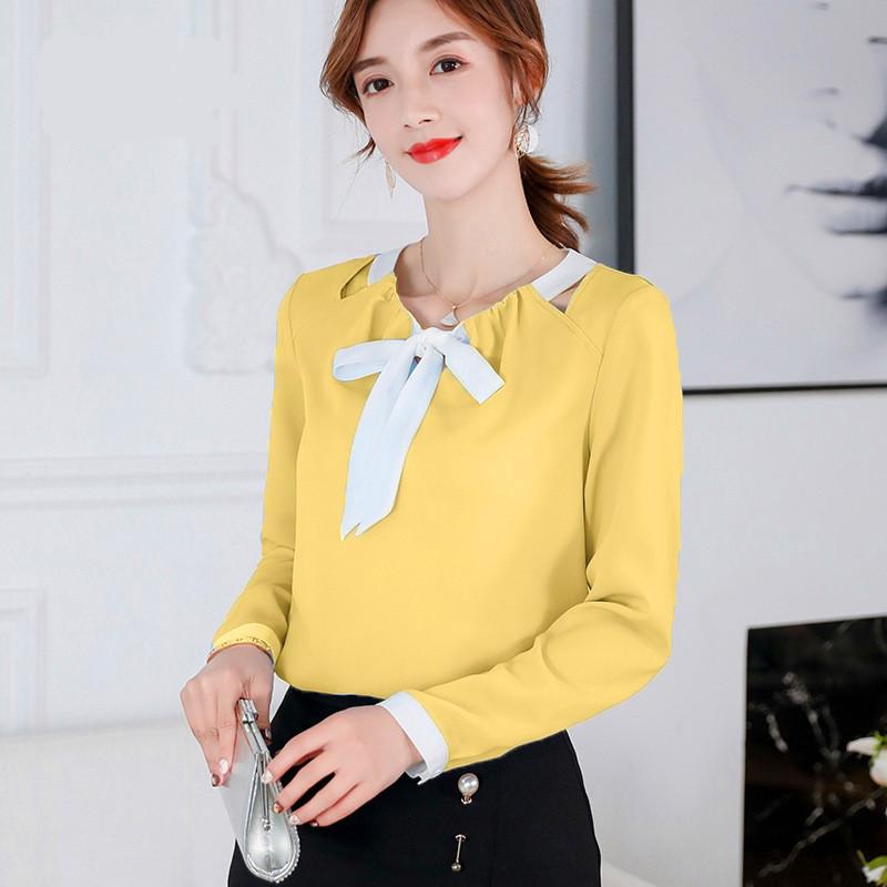 2020 blouse en mousseline de soie jaune femmes chemise rouge à manches longues vêtements de mode coréenne blusas printemps été mince hauts Ropa mujer