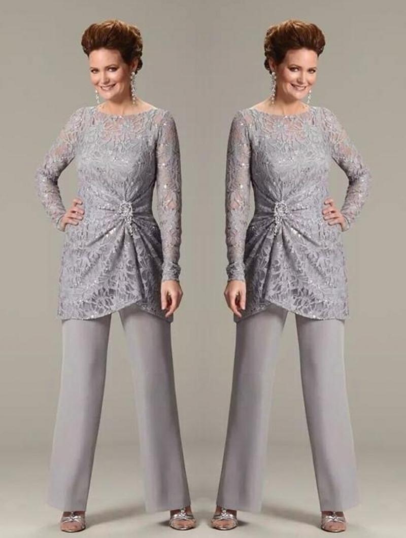 Sequined Mother Of The Bride Pant Suit Plus Size Chiffon Formal Guest Gowns 3PCS