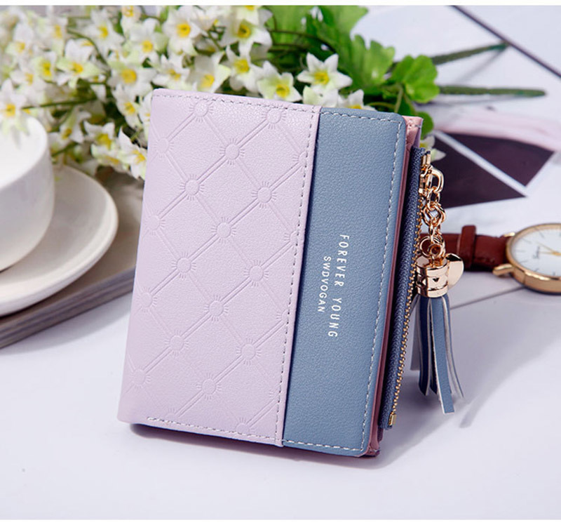 Women Wallet Female Short Paragraph Coin Purse Color Wallet Women Small Fold Wallets Tassel Zipper Button Bag Credit Card Holder (16)
