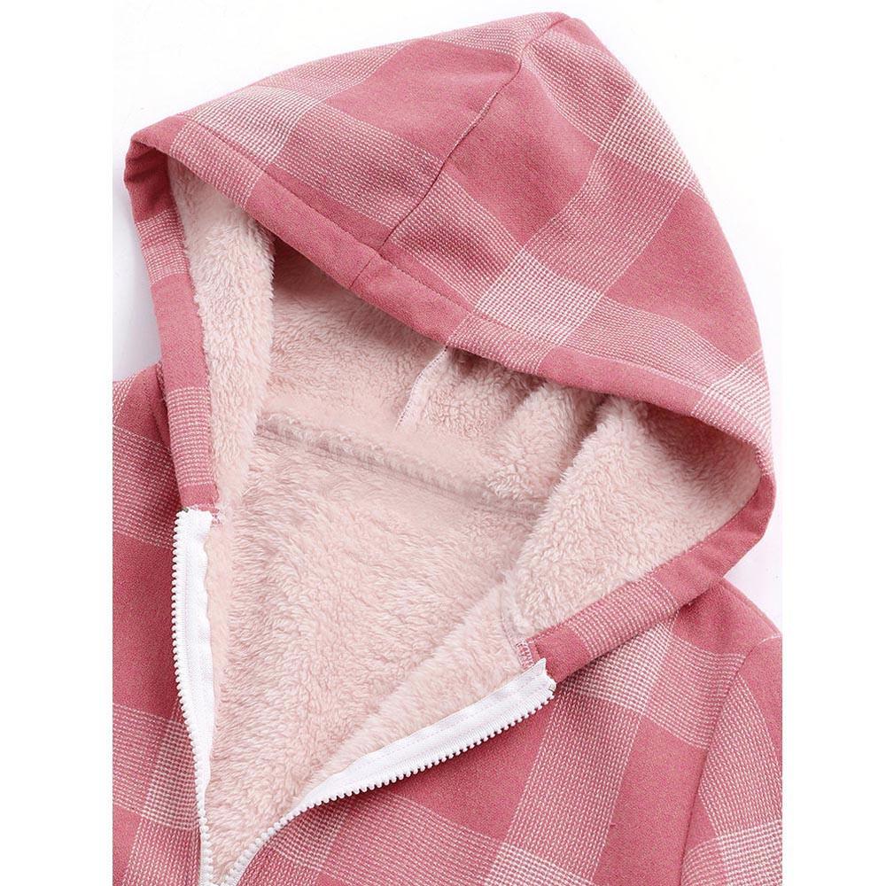 2018 Winter Jacket Warm Outwear Button Plaid Print Pocket Vintage Oversize Coat Bomber Jacket Casual Coat Autumn Spring Print T3190605