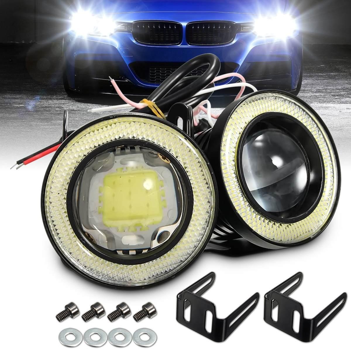 Luces antiniebla Qiilu LED antiniebla Faros Delanteros 3200lm Ojo de /ángel 1 par con kit de montaje 3