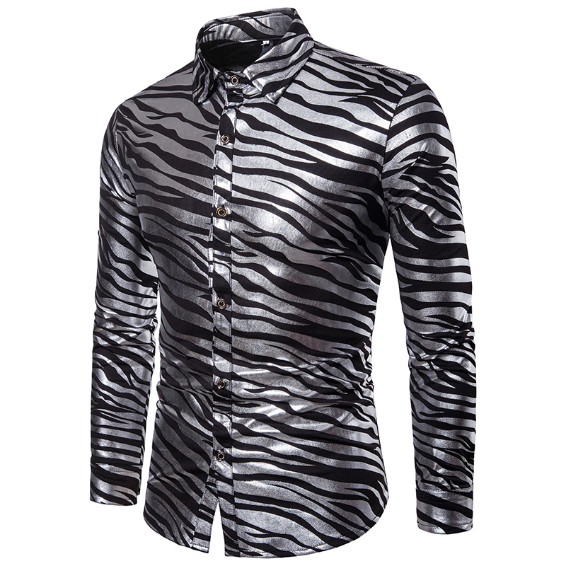Men Shirt Shiny Zebra Striped Shirt Causal Slim Fit Long Sleeve Mens Dress Shirts Nightclub Party Prom Gold Bronzing Streetwear T2190608
