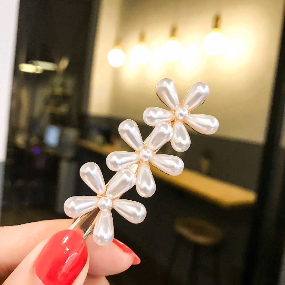 Boutique Fashion Retro Pearl Flower Hairpins Solid Royal Floral Hair Clips Princess Headwear ins Hair Accessories