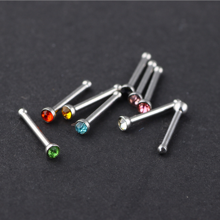 REAL 925 STERLING SILVER 3PCS SET CLEAR CRYSTAL NOSE STRAIGHT END BENDABLE STUDS