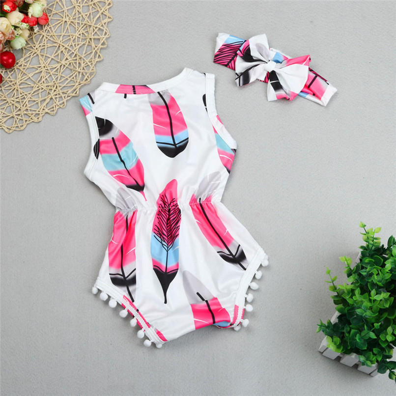 2PCS Summer Babys Romper Infant Kids Girls Sleeveless Tassel Feather Romper Jumpsuit+Headband NDA84L18 (6)
