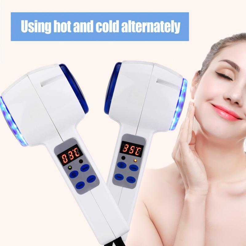 Dispositivo de Cuidados Faciais Hot Cold Martelo Crioterapia Blue Photon Acne Tratamento Beleza Da Pele Massager Rejuvenescimento De Elevação Facial Máquina SH190727