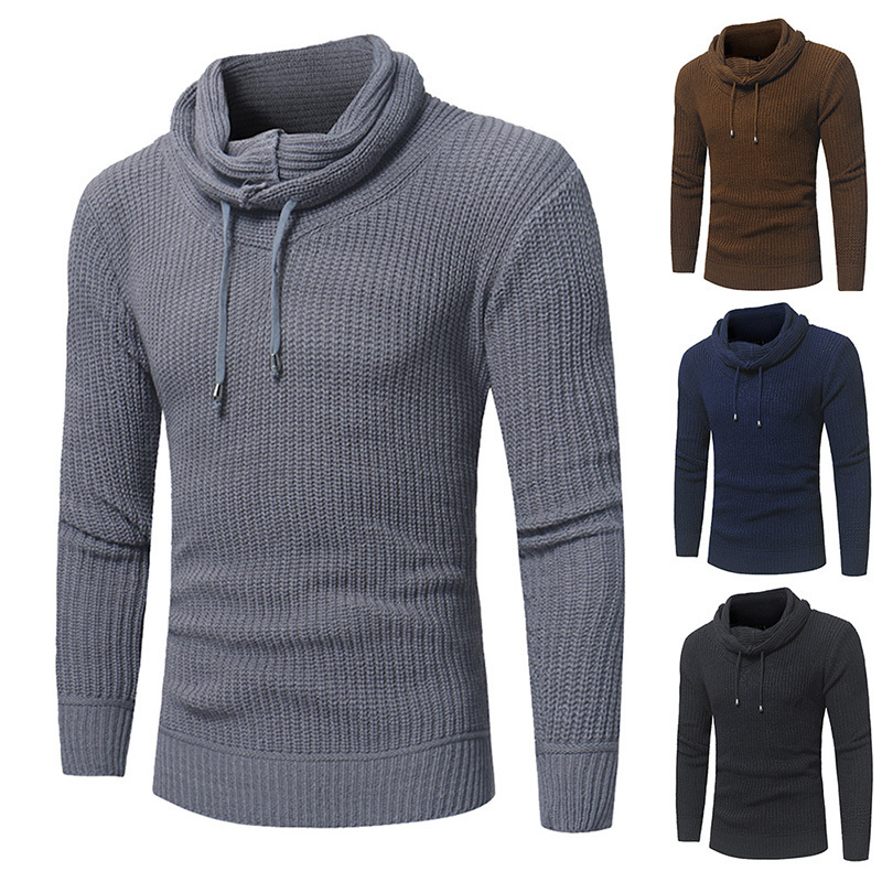 Mens Sweater Pullover 2019 Male Brand Casual Slim Sweaters Men High-quality Solid Color Hedging O-neck Mens Sweater Xxl