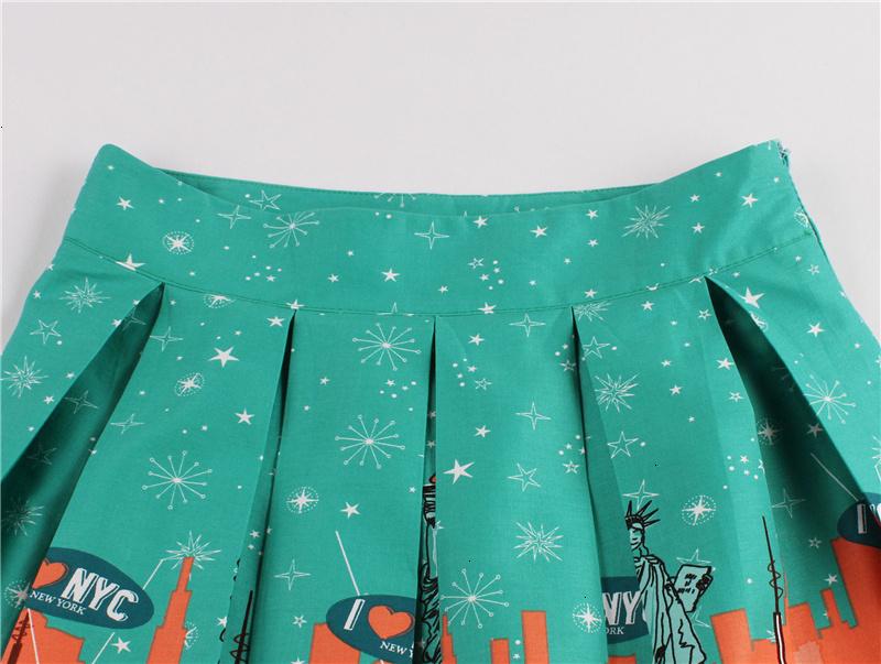 Kostlish Retro Print Flower Summer Skirts Womens High Waist Vintage Skirt Elegant A-Line Midi Women Skirt Plus Size XXL (52)
