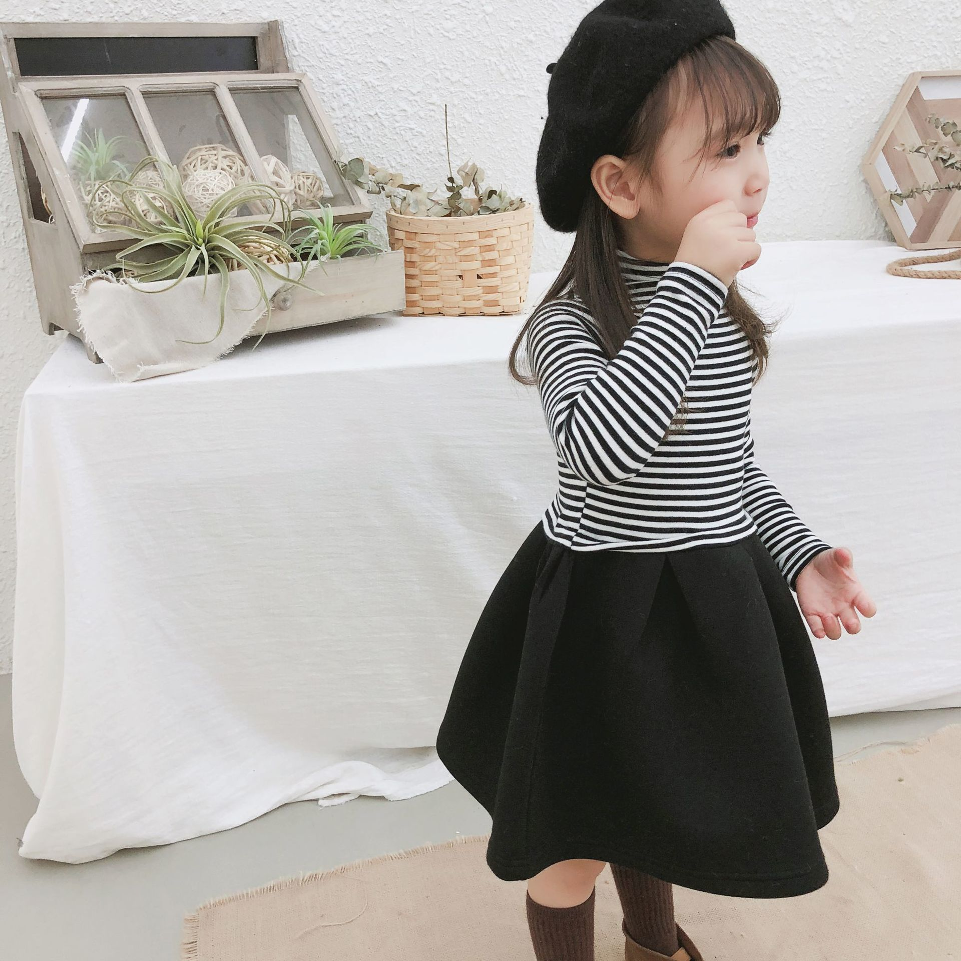 2019 Autumn And Winter New Arrival korean style cotton casual Striped all-match long sleeve Dress for cute sweet baby girls