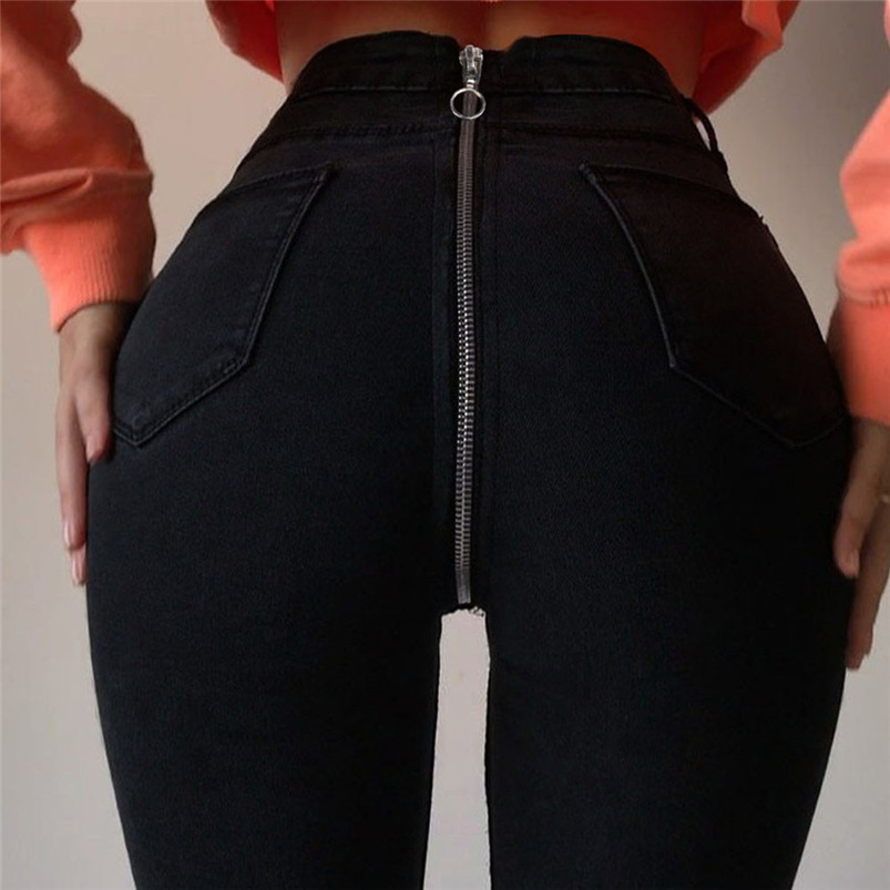 Black Jeans Woman New Sexy Back Zipper Denim Pants Skinny Pencil Pants Stretch Trousers Jeans Dropshipping #FS03 (11)