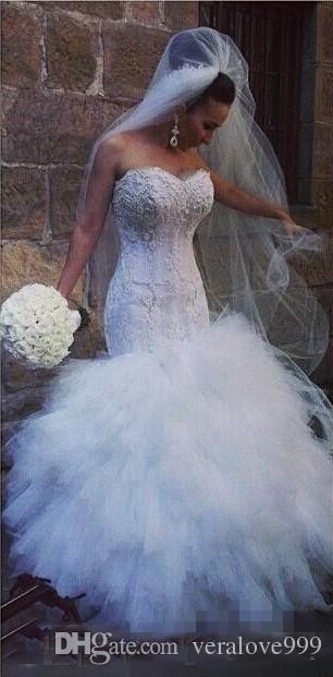 Sexy Cascading Ruffles Arabic Mermaid Wedding Dresses Sweetheart Lace Plus Size Vestidos De Novia Bridal Gowns For Garden Custom Made