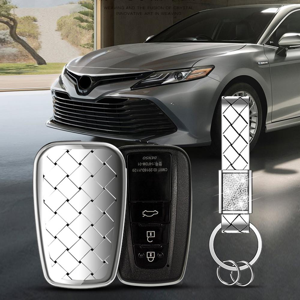 Azul Funda de TPU Suave para Llave Llavero para Coche Toyota Camry Rav4 Prado C-HR Prius