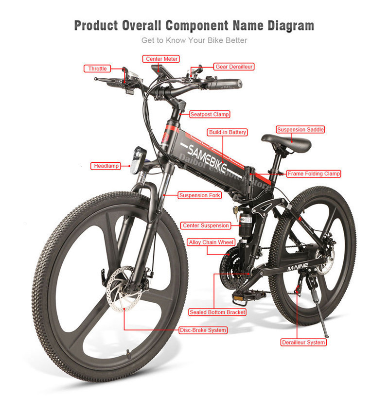 Powerful Electric Bicycle 2 Wheels Electric Bicycles 21 Speed 35KMH 48V 350W Folding Electric Scooter With Removable Battery (38)