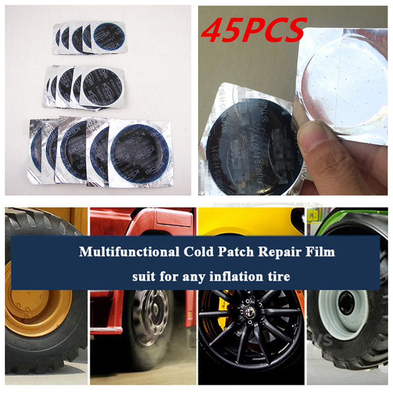 24pcs 25mm round square  bicycle bike tire tyre rubber patch repair tools kit NG