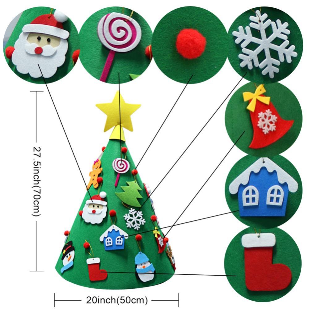 100pcs Padded Felt Green Christmas Tree Appliques Decorative Sewing Craft