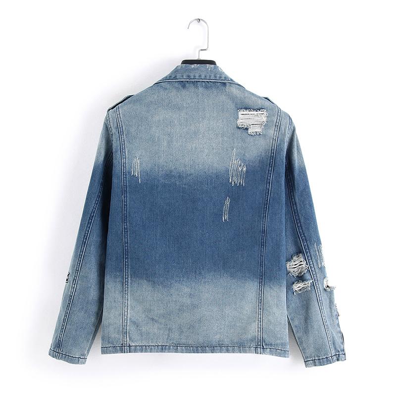 New Fashion Hi Rua Mens Ripped Denim Jackets com Multi Zippers Streetwear afligido Motociclista Jeans Jacket T200102