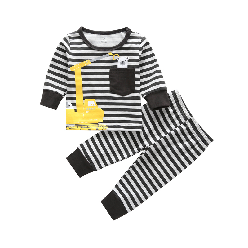 2PCS Pajamas Set bebes newborn baby Sleepwear clothes long sleeve stripe Nightgown set Infant baby boy girl home wear suit