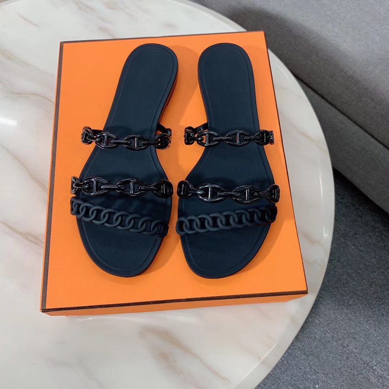 Designer Slippers Women Sandals Rivage Chaine d'Ancre rubber jelly Sandals Slides Flat Flip Flops Slippers Party Wedding Shoes With Box