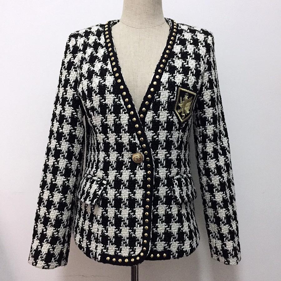 2019 Damenmode Nieten gesticktes Abzeichen V-Ausschnitt Blazer Jacke Hahnentritt Schwarz Weiß Farbblock Tweed Mäntel Jc2665