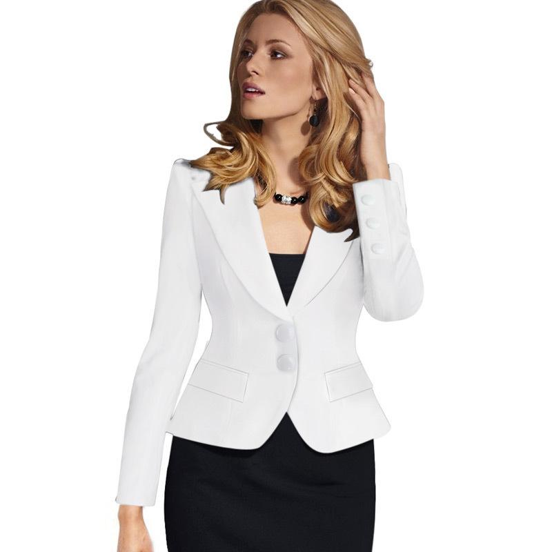 2019 Ladies Blazer Feminino Formal Short Suit Two-button V-Neck Blazers Women Blazers Jackets for Women Blazers Slim Fit 4XLG3P7 T190611