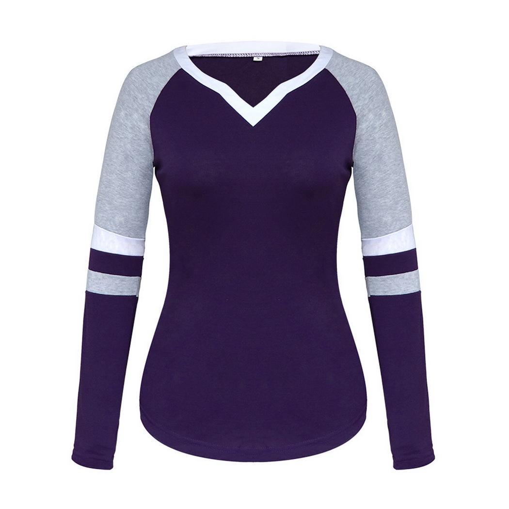 Женская мода Повседневная V-образным вырезом с длинным рукавом Лоскутная пуловерная футболка Топ Мода Новая футболка с длинным рукавом