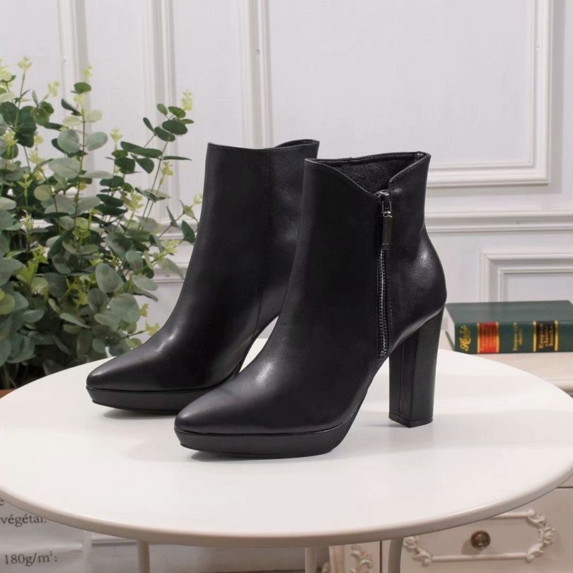 2019 Pointed Toe High Heels Ankle Boots For Women Brand Designer Fashion Buckle Decoration Women Short Boots Shoes Party Dress