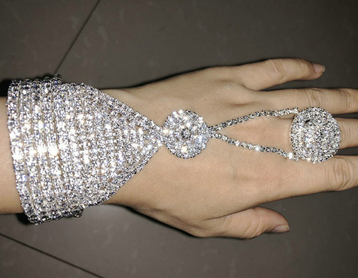 Upscale Rhinestone Austrian Crystals Thick Slave Cuffs with Attached Chain