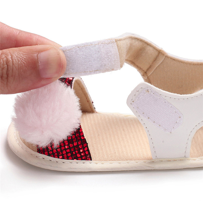 3 Color Summer Baby Girl Shoes Newborn Toddler Baby Girl Soft Ball Sequins Sandals Soft Sole Anti-slip Shoes Girl Sandals JE14#F (27)
