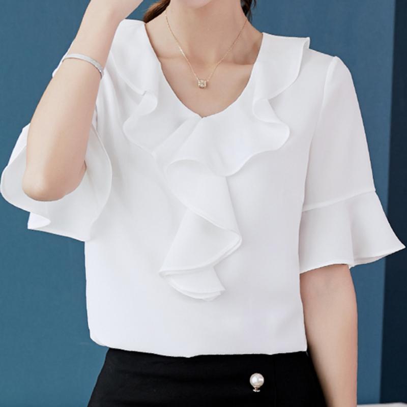 2020 Printemps Eté Haut Femmes Chemises Nouvelle coréen de grande taille Mode Shirt Blusas Slim Volants Chemisier Blanc Jaune en mousseline de soie
