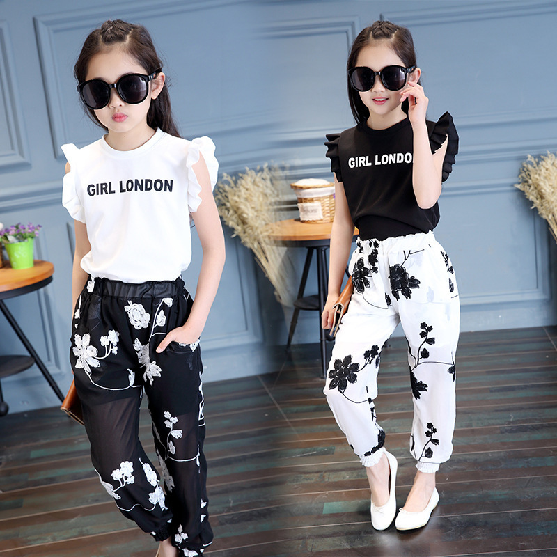 Baby Girls' Clothing 2018 Summer New Style Fashion Embroidery Flower T-shirt + Mesh Trousers Sweet Trend Two Sets Y190518