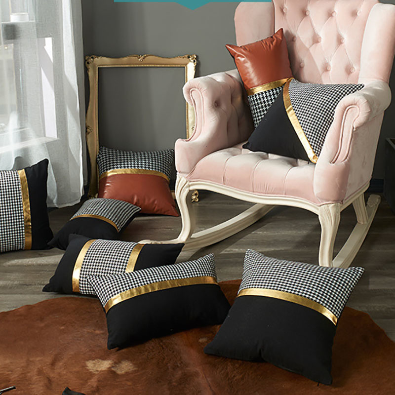 Astounding Modern Leather Stitching Pillowcase Decorative Cushion Cover Sofa Home Decor Throw Pillows Case 45X45 30X50Cm High Grade Cushion For Patio Furniture Spiritservingveterans Wood Chair Design Ideas Spiritservingveteransorg